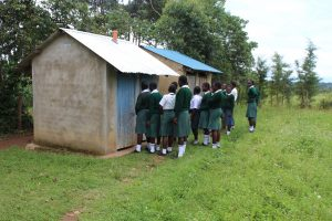 The Water Project:  Girls Queueing At Latrines