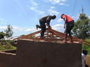 The Water Project:  Working On Latrine Roof