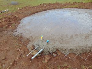 The Water Project:  Cement At Base Of Tank