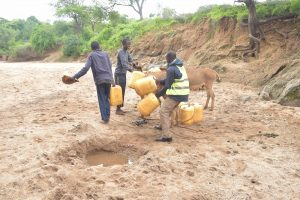 The Water Project:  Loading Up Donkeys With Water Containers