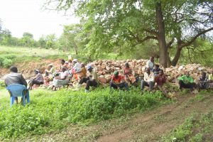 The Water Project:  Shg Members Gathered Near The Site Of The Proposed Project