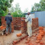 The Water Project: Ebulonga Mixed Secondary School -  Latrine Walls Going Up Brick By Brick
