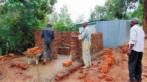 The Water Project:  Latrine Walls Going Up Brick By Brick