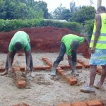 The Water Project: Kakamega Muslim Primary School -  Outlining Latrine Stalls On The Foundation