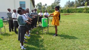 The Water Project:  Trainer Lillian Achieng Leads Handwashing Session