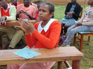 The Water Project:  A Student Imitates The Handwashing Steps