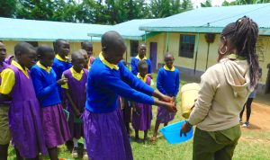 The Water Project:  Student Demonstrates Handwashing