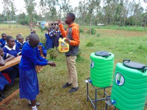 The Water Project:  Leaky Tin Handwashing Demnstration