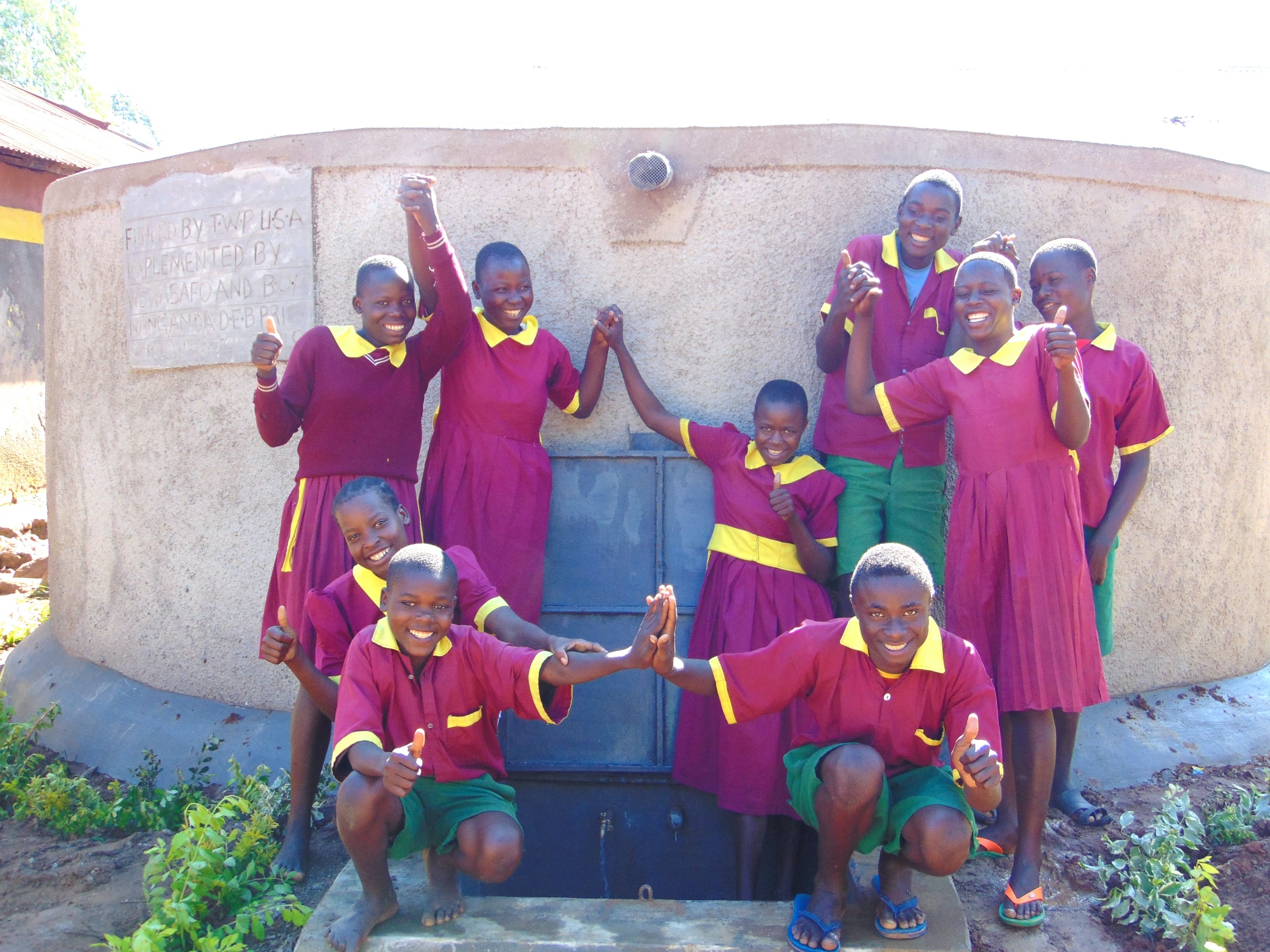 The Water Project : 32-kenya19079-studens-celebrate-the-rain-tank