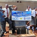 The Water Project: Ebulonga Mixed Secondary School -  Students Celebrate The Rain Tank