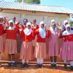 The Water Project: Kakamega Muslim Primary School -  Girls Pose With Their New Latrines