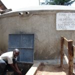 The Water Project: Banja Primary School -  Happy Staff At The Rain Tank
