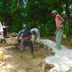 The Water Project: Kapkures Primary School -  Mixing Concrete