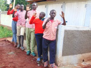 The Water Project:  Boys Pose In Front Of Their New Latrines