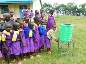 The Water Project:  Girls Line Up To Wash Hands