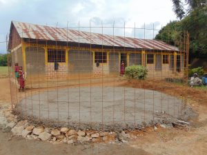 The Water Project:  Wire And Concrete Set Over Rain Tank Foundation