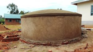 The Water Project:  Rain Tank Dome Freshly Cemented