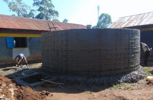 The Water Project:  Outside Of Tank Gets Cement And Drawing Point