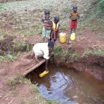 The Water Project: Shikhombero Community, Atondola Spring -  Fetching Water