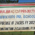 The Water Project: Mwikhupo Primary School -  School Signpost