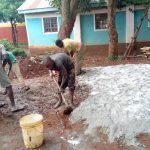 The Water Project: St. Joseph's Lusumu Primary School -  Mixing Concrete For Foundation