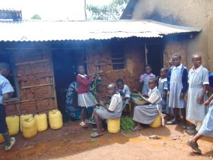 The Water Project:  Pupils Outside Kitchen Helping Prepare Vegetables