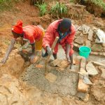 The Water Project: Malimali Community, Shamala Spring -  Constructing The Stairs