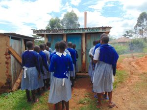 The Water Project:  Girls Queueing At Their Latrines