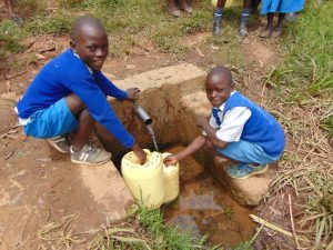 The Water Project:  Students Fetching Water From The Spring
