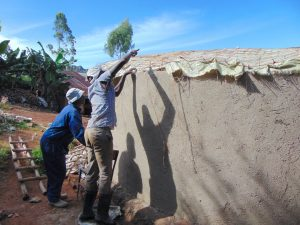 The Water Project:  Tying Dome Form Onto Walls