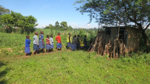 The Water Project:  Girls Lined Up To Use Latrines