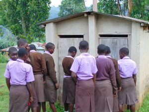 The Water Project:  Girls Wait In Line For The Toilet