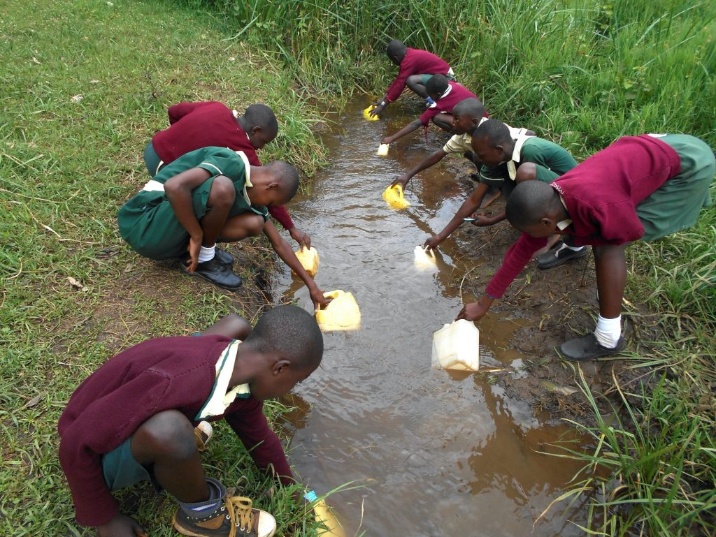 The Water Project : 18-kenya20134-students-collecting-water-at-the-stream