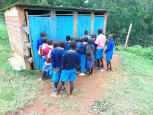 The Water Project:  Boys In Line For Latrines