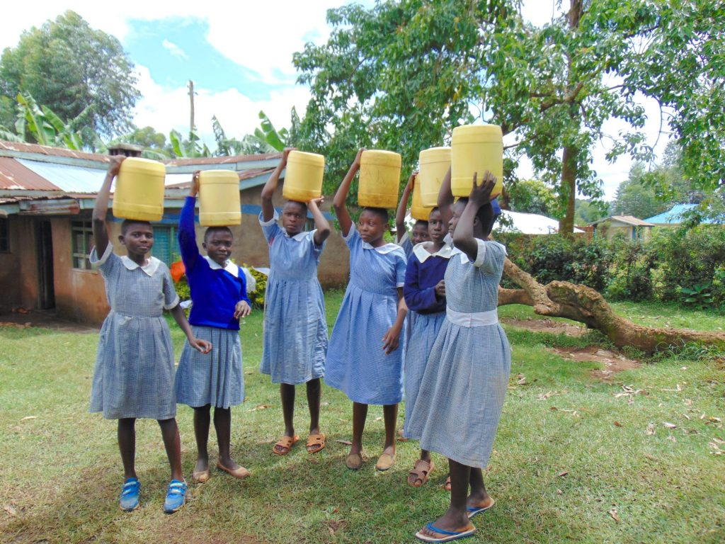 The Water Project : 21-kenya20142-students-carrying-water-back-to-school