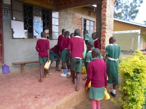 The Water Project:  Students Consolidate Water At The Administration Block