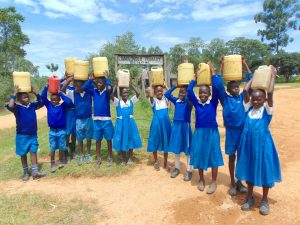 The Water Project:  Students With Water At School Entrance