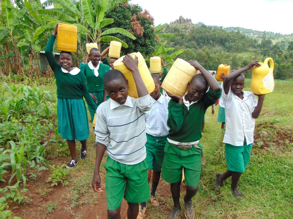 The Water Project : 32-kenya20147-pupils-carrying-water-9