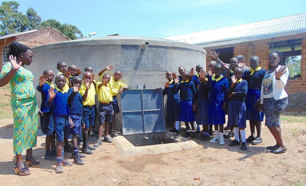 The Water Project : 33-kenya19050-pupils-and-staff-celebrate-the-rain-tank