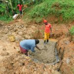 The Water Project: Malimali Community, Shamala Spring -  Laying The Concrete Foundation