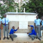The Water Project: Banja Secondary School -  Boys Pose With New Latrines
