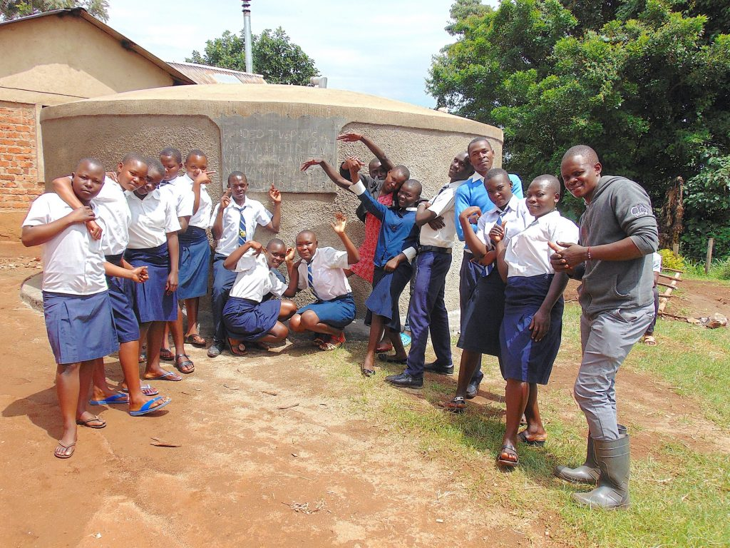 The Water Project : 50-kenya19055-celebrating-the-completed-rain-tank