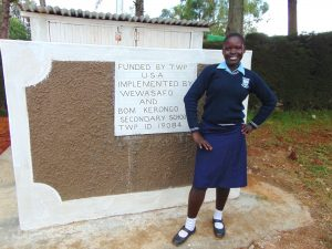 The Water Project:  A Student In Front Of The New Girls Latrines