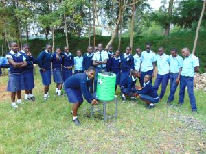 The Water Project:  Students Pose With Handwashing Station
