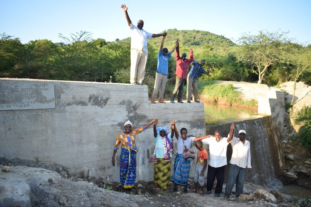 The Water Project : kenya19208-shg-members-at-their-new-dam