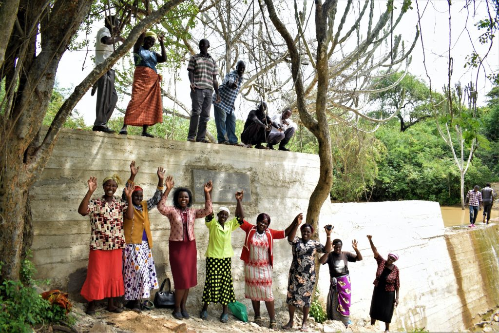 The Water Project : kenya19209-celebrating-at-the-new-dam-2