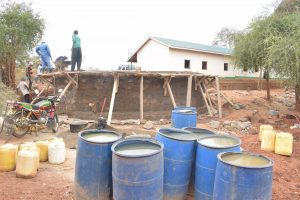 The Water Project:  Barrels Filled With Water For Mixing Cement