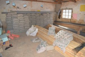 The Water Project:  Cement Bags And Construction Materials Stored In A Classroom