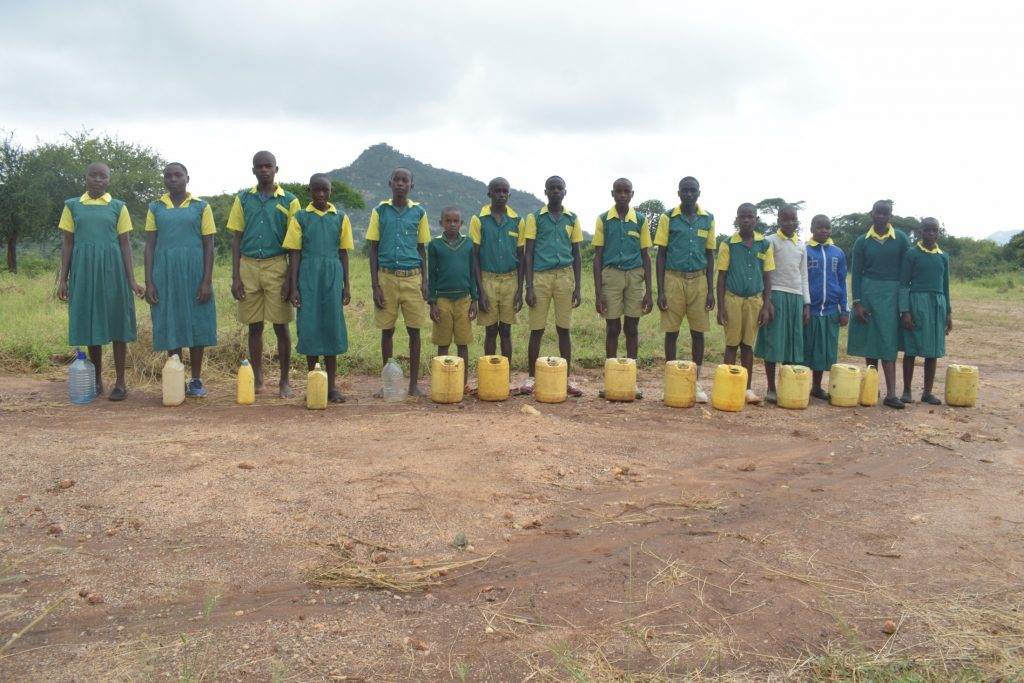 The Water Project : kenya20358-students-and-their-water-containers