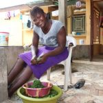The Water Project: Lungi, Thomossoh, #24 Thullah Street -  Girl Slicing Potato Leaves